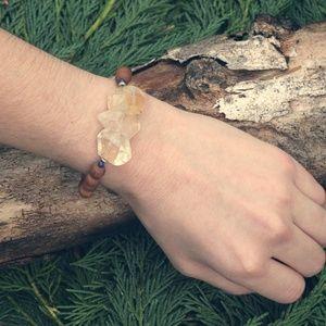 Boho Hippie chic Gemstone Crystal Wooden Bracelet